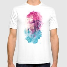 Woman in Splash of Watercolor White MEDIUM Mens Fitted Tee