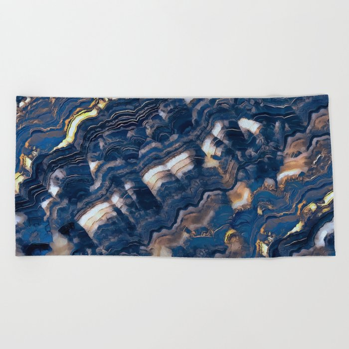 Blue marble with Golden streaks Beach Towel