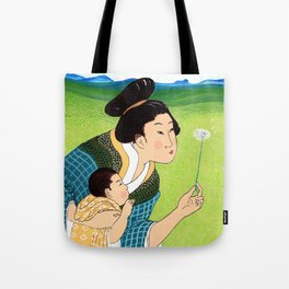 Mrs Hokusai Blows A Dandelion For The Baby Tote Bag