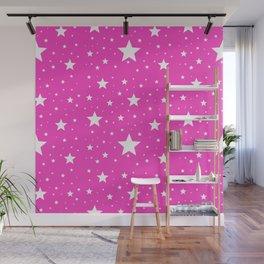 Pink stars pattern Wall Mural
