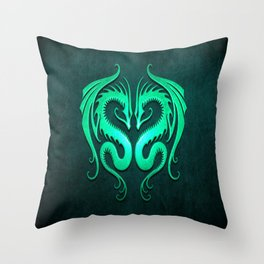 Teal Blue Twin Tribal Dragons Throw Pillow