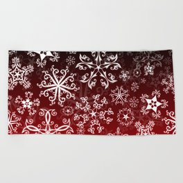 Symbols in Snowflakes on Holly Berry Beach Towel