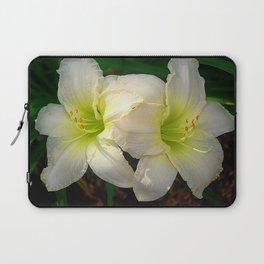 Glowing white daylily flowers - Hemerocallis Indy Seductress Laptop Sleeve