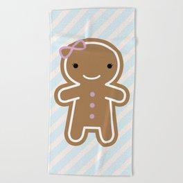 Cookie Cute Gingerbread Girl Beach Towel