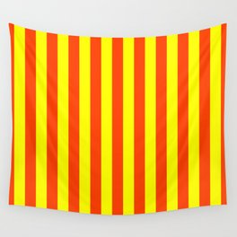 Super Bright Neon Orange and Yellow Vertical Beach Hut Stripes Wall Tapestry