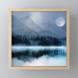 Mountainscape Under The Moonlight Framed Mini Art Print