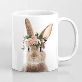 Baby Rabbit, Brown Bunny With Flower Crown, Baby Animals Art Print By Synplus Coffee Mug