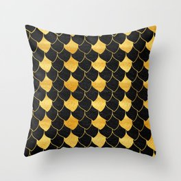 Black and golden scales pattern Throw Pillow