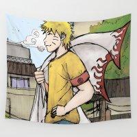 naruto Wall Tapestries featuring Naruto in Konoha  by yulius gi