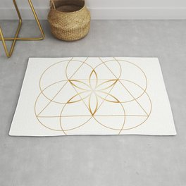 Modern Minimalist Sacred Geometry Symbol, Geometric Flower of Life in Gold and White Abstract Luxury Rug