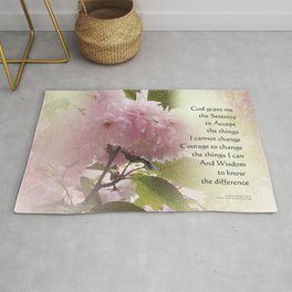 Serenity Prayer Cherry Blossom Glow Rug
