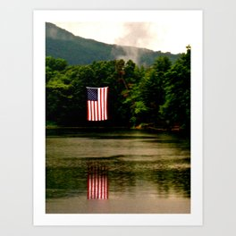 Flag on 4th of July Art Print
