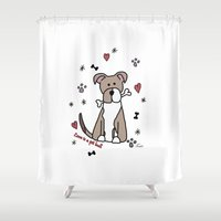 pit bull Shower Curtains featuring Love is a pit bull No.2 by Shay by design