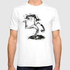 Wound-up: The Pitcher White Mens Fitted Tee SMALL