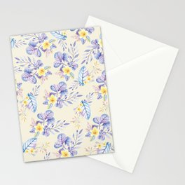 Lavender yellow purple watercolor modern floral Stationery Cards