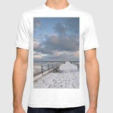 Saltburn Pier MEDIUM White Mens Fitted Tee
