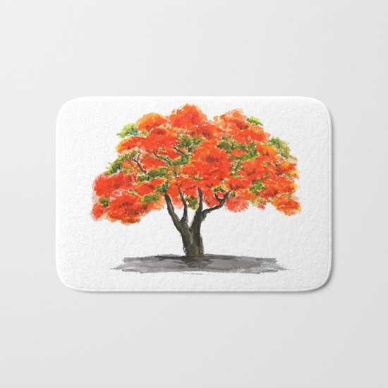 flame of the forest tree Bath Mat