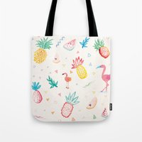 pinapple Tote Bags featuring Trop-i-COOL by Laura Francis