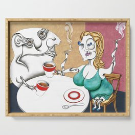 Dos amantes fumando y tomando un delicioso café estilo caramel Serving Tray