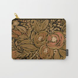 Watercolor .   Black brown floral pattern . Carry-All Pouch