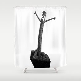 """""""The F Man"""" / Black and White Shower Curtain"""