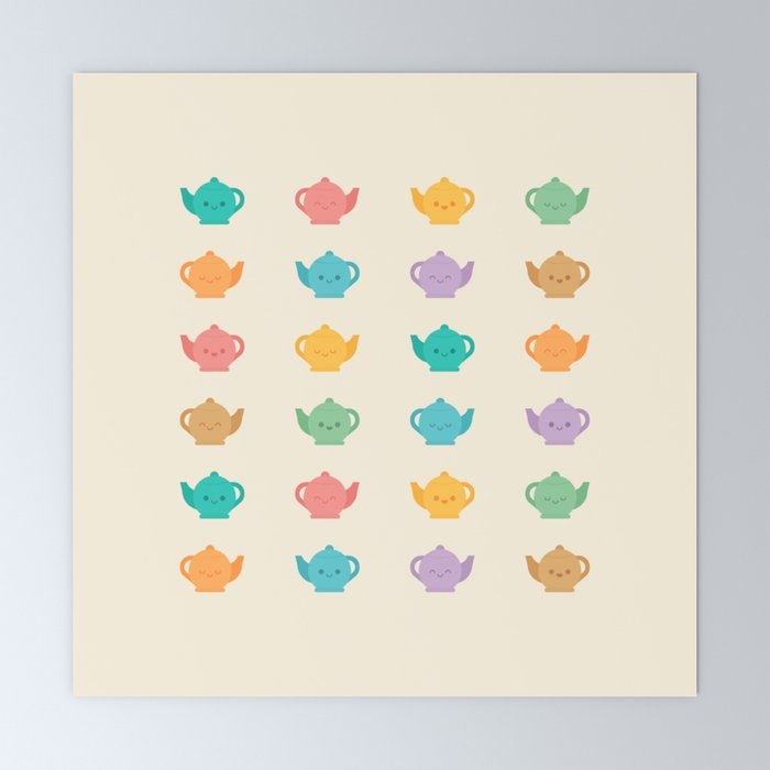 Cute Kawaii Teapots Mini Art Print