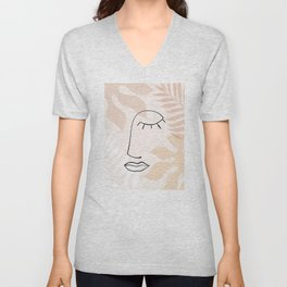 A Dreamy Nature - Line-art portrait Unisex V-Neck