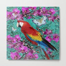 TROPICAL ORCHIDS RED MACAW PARROT JUNGLE ART Metal Print