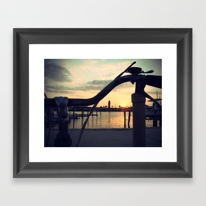 2 wheels to sunset Framed Art Print