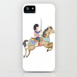 Merry-Go-Round: Girl with Red Boots on a Carousel iPhone Case
