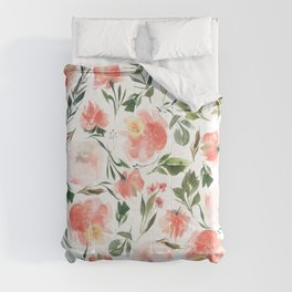 Coral Red Watercolor Flowers Comforters
