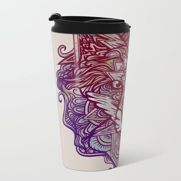 Wolf Ornament Metal Travel Mug