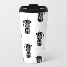 Moka Coffee Pot coffee lover black and white minimal modern kitchen linocut art Travel Mug