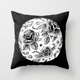 Blackwork Tattoo Roses Throw Pillow