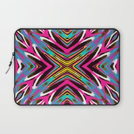 psychedelic geometric graffiti abstract pattern in pink blue yellow brown Laptop Sleeve