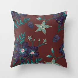 Illustration digital art purple flower pattern with skull red  background Throw Pillow