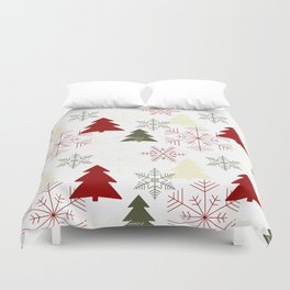 Christmas pattern with gift boxes and snowflakes. Duvet Cover