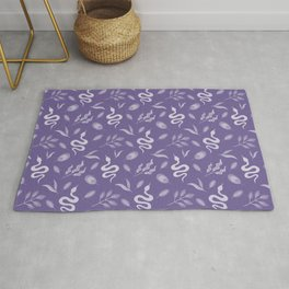 Wild exotic snakes, little leaves serpent tropical moody botanical elegant stylish classy nature mauve heather purple retro vintage pattern. Reptile lover.  Rug