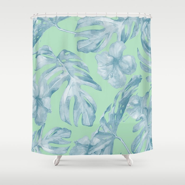 Tropical Leaves and Flowers Luxe Pastel Sea Turquoise Blue Green ...