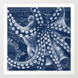 Octopus Vintage Map Blue Nautical Art Art Print