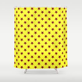Burgundy Red on Electric Yellow Stars Shower Curtain