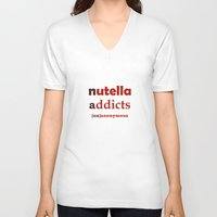 nutella V-neck T-shirts featuring Nutella Addicts Unanonymous by Jozi