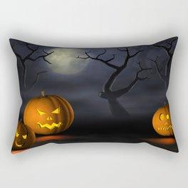 II - Halloween pumpkins in a spooky forest at night Rectangular Pillow