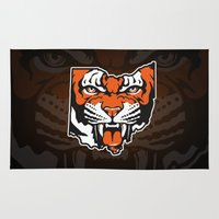 ohio state Area & Throw Rugs featuring Ohio Bengal by Griggitees