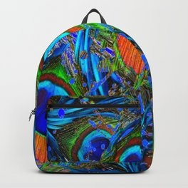 FEATHERY BLUE PEACOCK ABSTRACTED  FEATHERS ART PILLOWS Backpack
