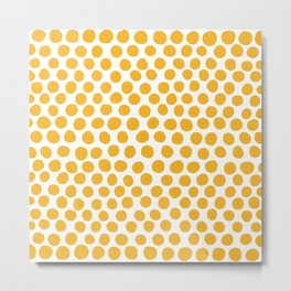 Honey Gold Dots - White Metal Print
