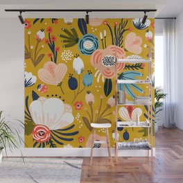 Mid-Century Modern Floral Print on Mellow-Yellow Wall Mural