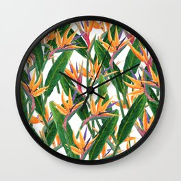 bird of paradise pattern Wall Clock