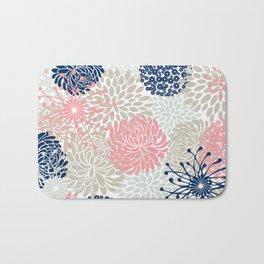 Floral Mixed Blooms, Blush Pink, Navy Blue, Gray, Beige Bath Mat