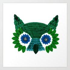 So Many Leaves = 1 Owl (Green) Art Print